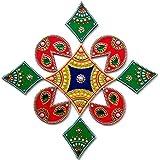 Floor Decoration /& Table Decoration Rangoli Indian Decor for Wall Decoration 9 Piece Handmade Wooden Art Ethnic Avenue EA-Rangoli-9P-RedGreen