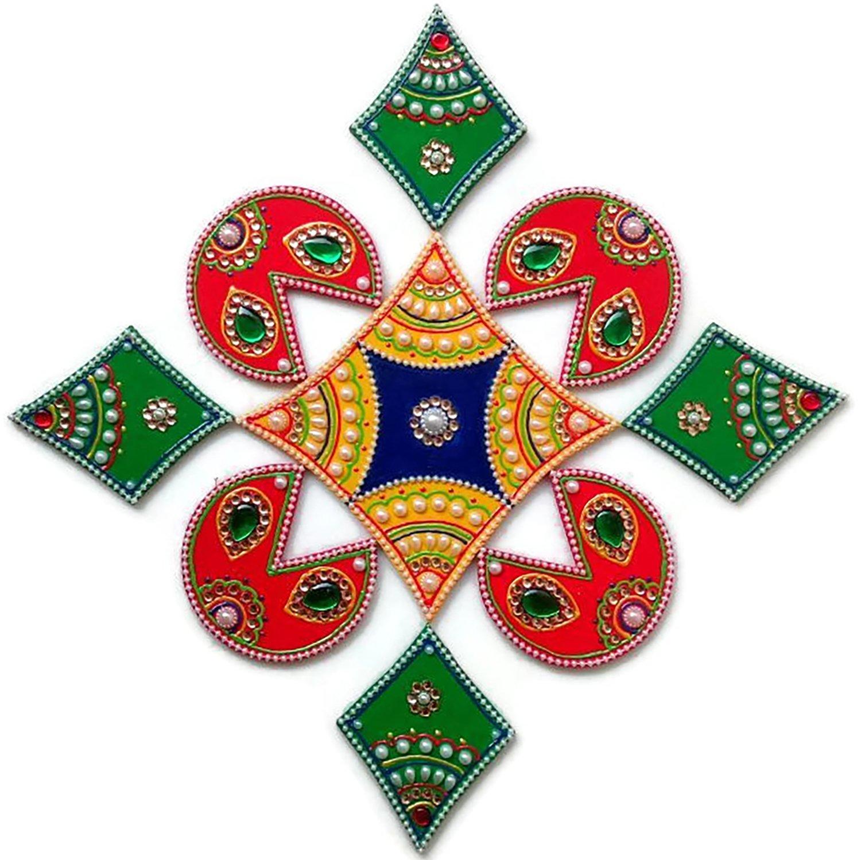 Diwali Christmas Decorations - Rangoli - Indian Home Decor Decoration from India - 9 Piece Wooden Handmade