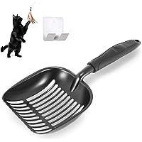 nukka Antihaft Katzenstreuschaufel Streuschaufel Kotschaufel Katzenstreu Schaufel für Katzen aus massivem Aluminium Metall mit Halter Haken und Katzenspielzeug