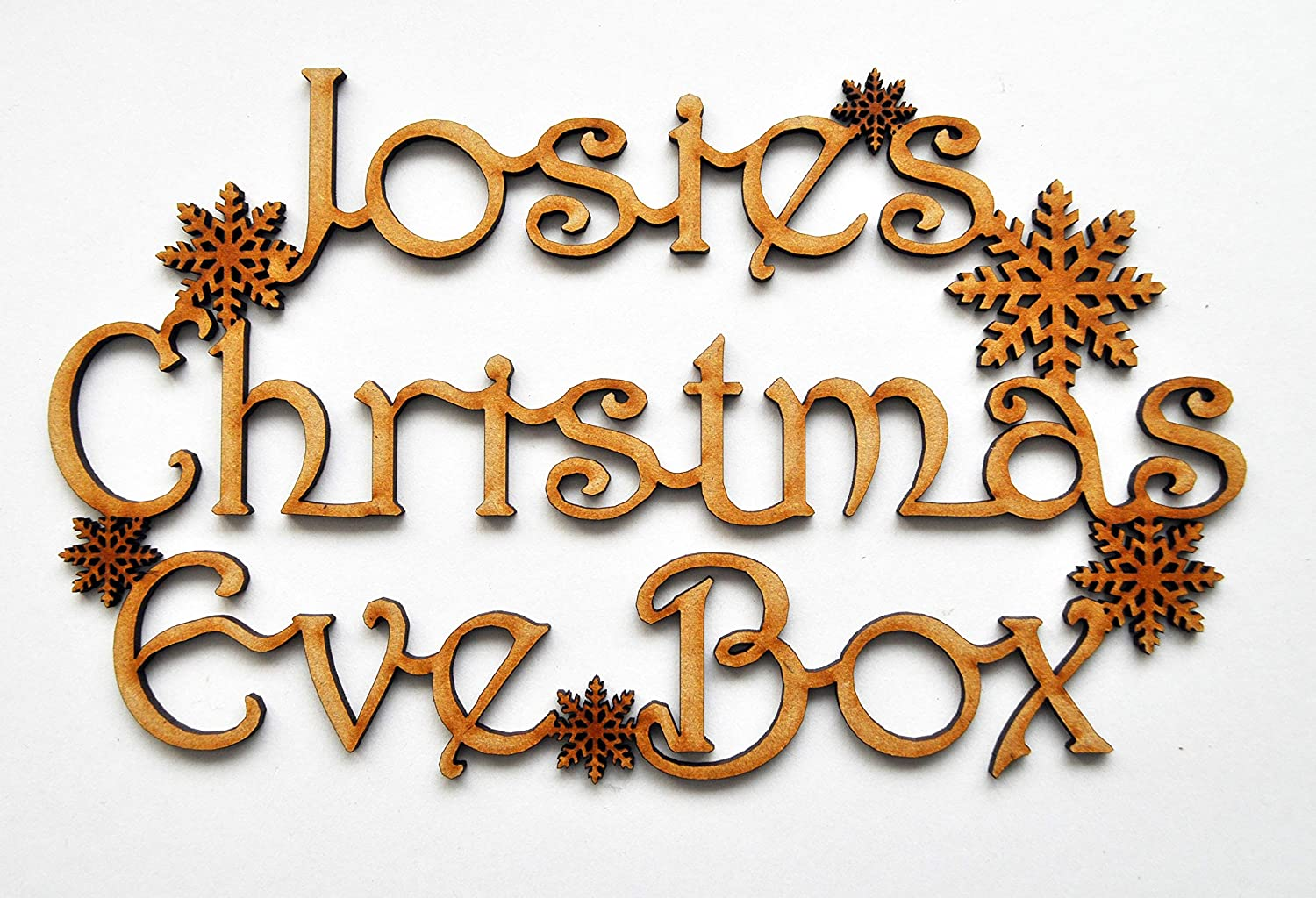 MDF with snowf Wooden cut out for Christmas eve box Christmas eve box topper