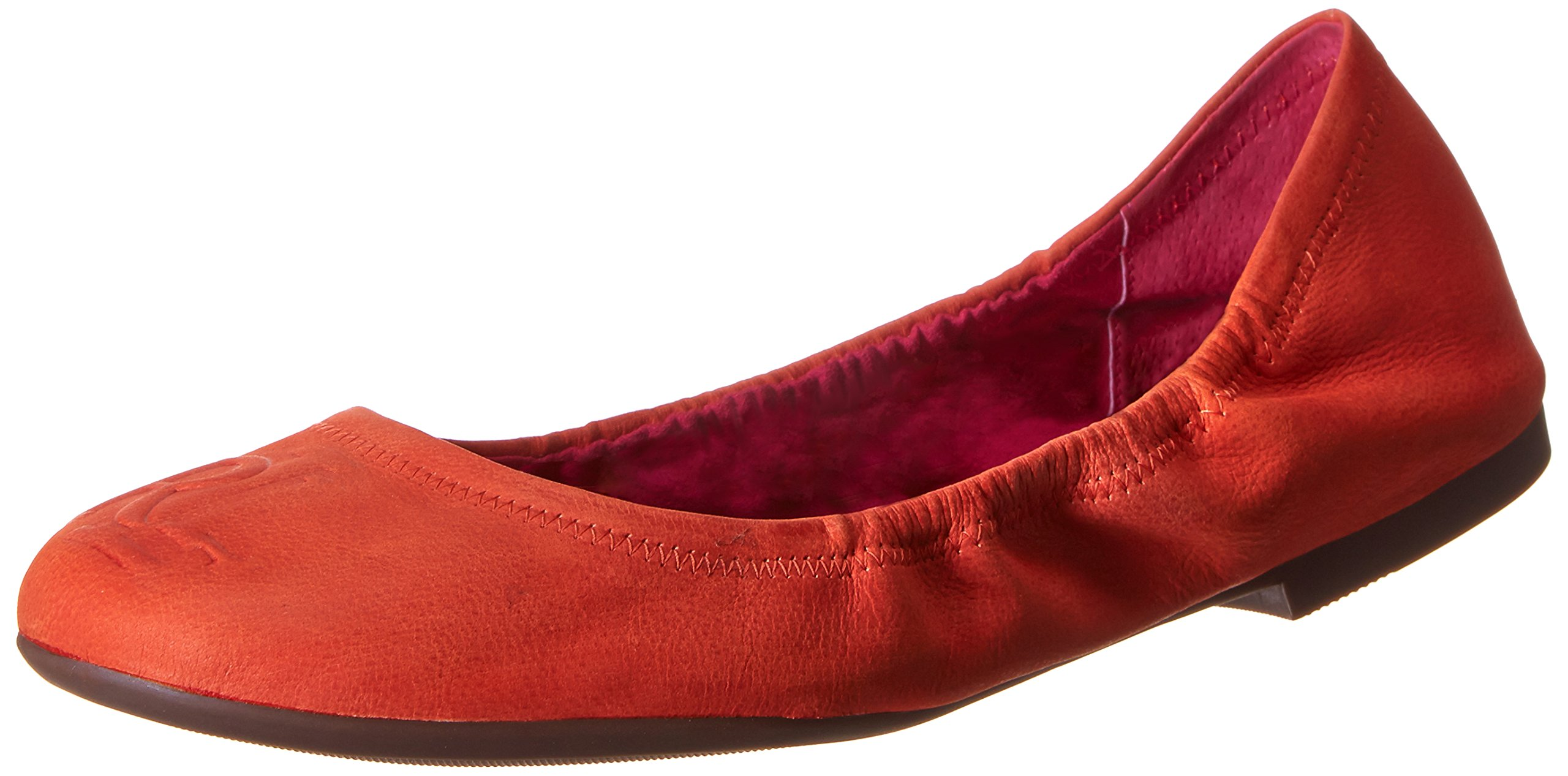 Lauren Ralph Lauren Women's Beatrice Ballet Flat, Acapulco Orange Soft Fine Grain, 6.5 B US