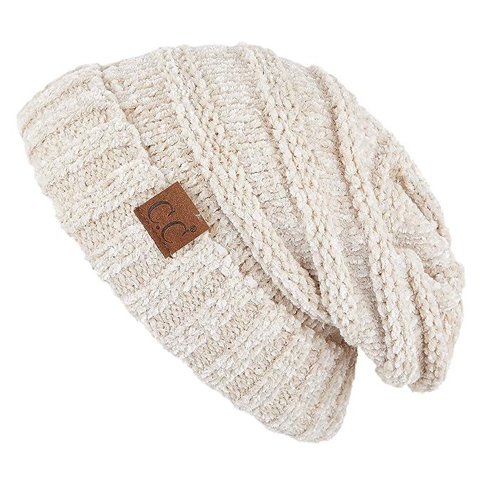08663ea0c Hatsandscarf CC Exclusives Unisex Oversized Slouchy Beanie (Beige Chenille)