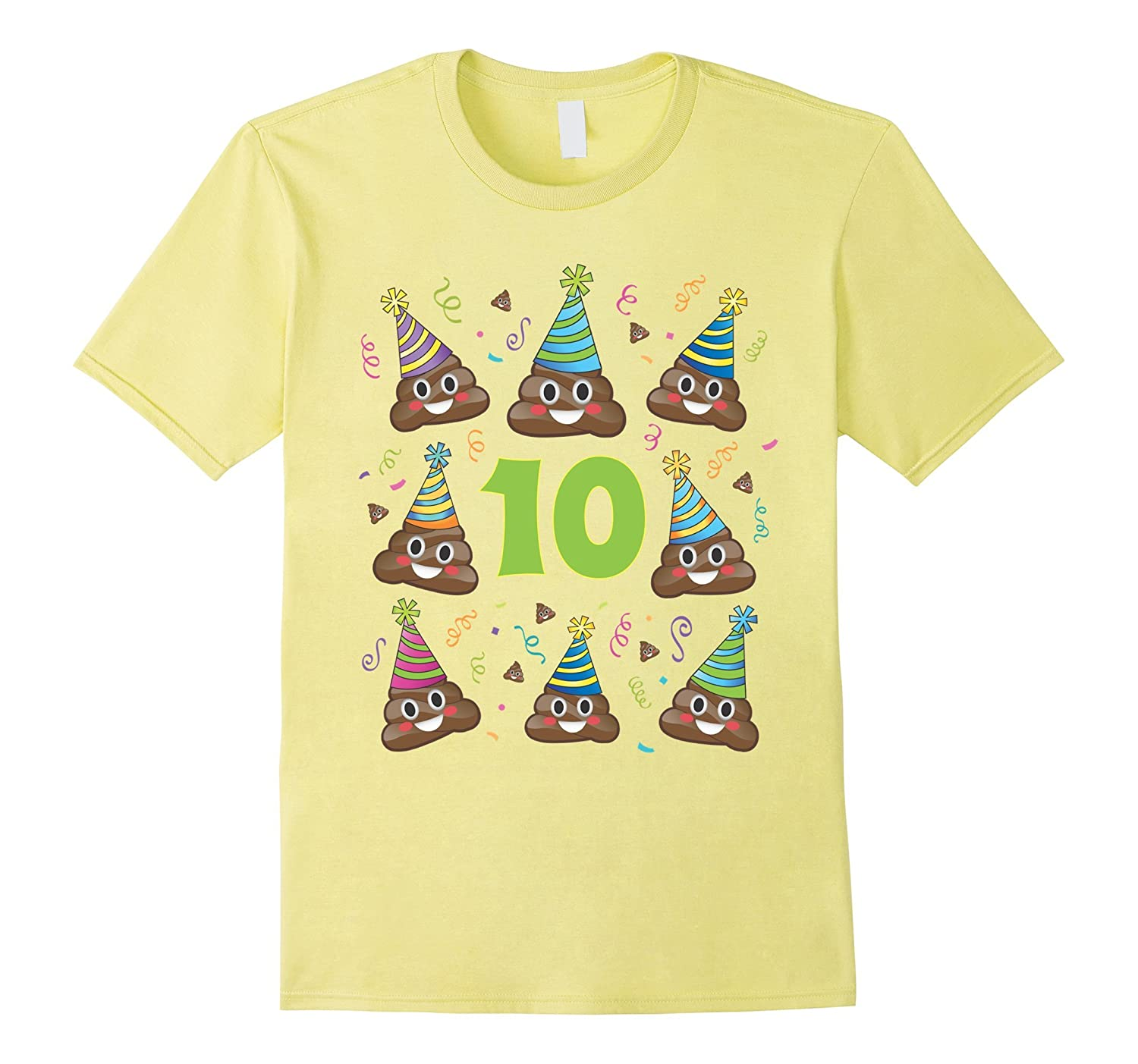 Poop Emoji Birthday Shirt 10 Ten Year Old Girl Boy Party PJ RT