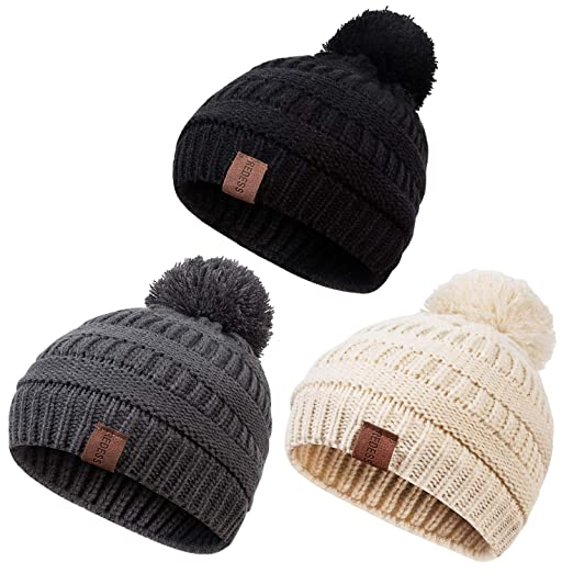 af6776c38 REDESS Baby Kids Winter Warm Fleece Lined Hats, Infant Toddler Children  Beanie Knit Chunky Baggy Cap Girls Boys