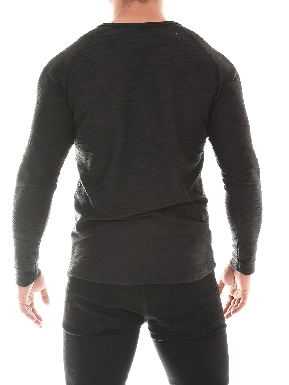 COEN BALE Herren T-Shirt Feinstrick Pullover Pulli Langarm Regular Fit Rundhals mit Knopfleiste Meliert Gym Fitness Trainingsshirt Training