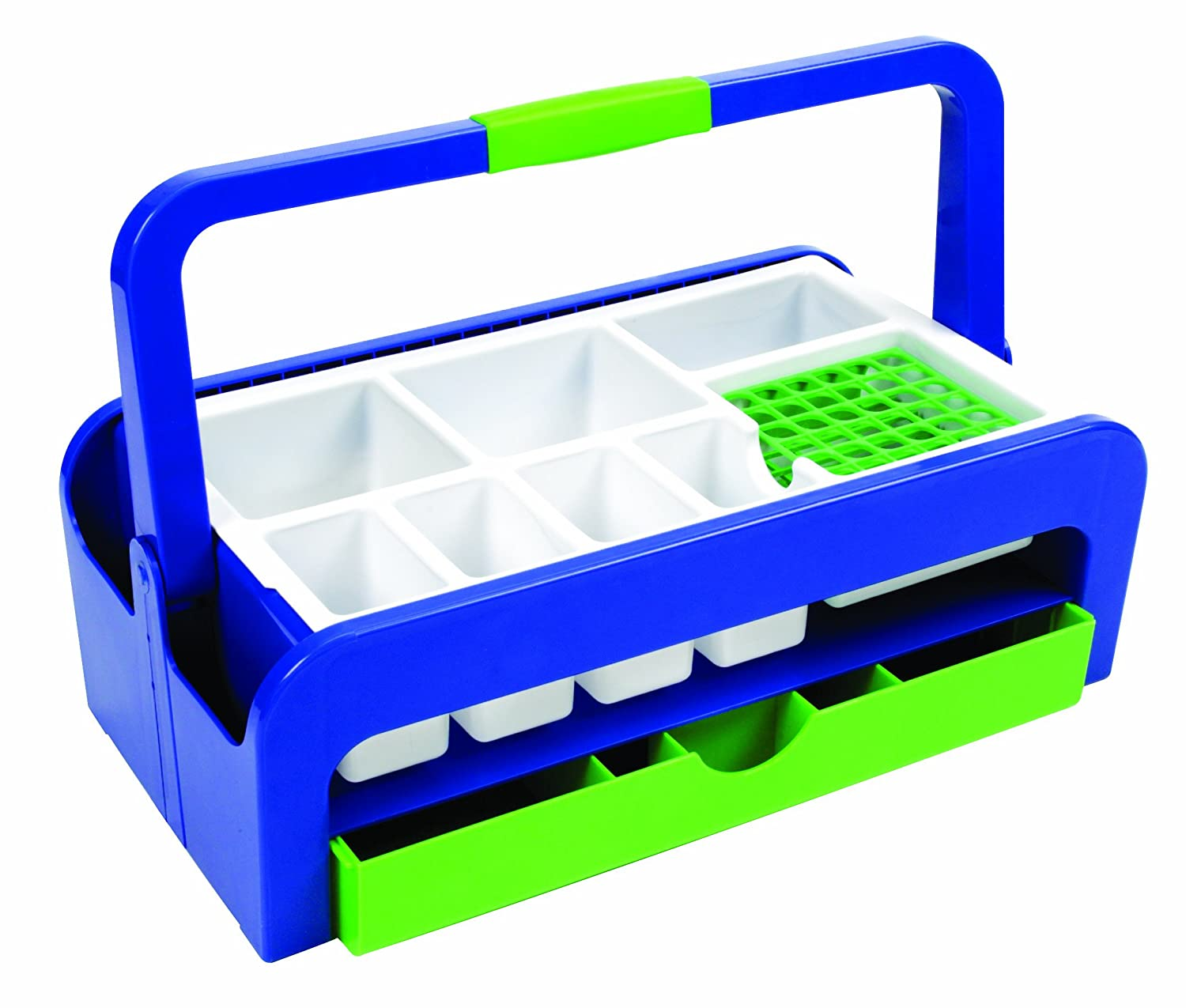 Heathrow Scientific HD2200A ABS Multipurpose Utility Tray with Two Inserts Style A, 429 mm Length x 265 mm Width x 172 mm Height, Blue/Green