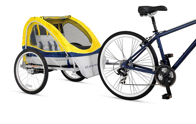 Schwinn Echo Double Bike Trailer Yellow Child