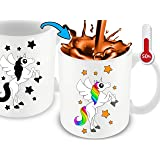 Cortunex Color Changing Unicorn Mug - Funny Coffee Mug For Woman - Great Unicorn Gift For Girls - Cute Mug - 11 Ounce White Ceramic Color Changing Mug With Gift Box   Great Christmas Gift Idea
