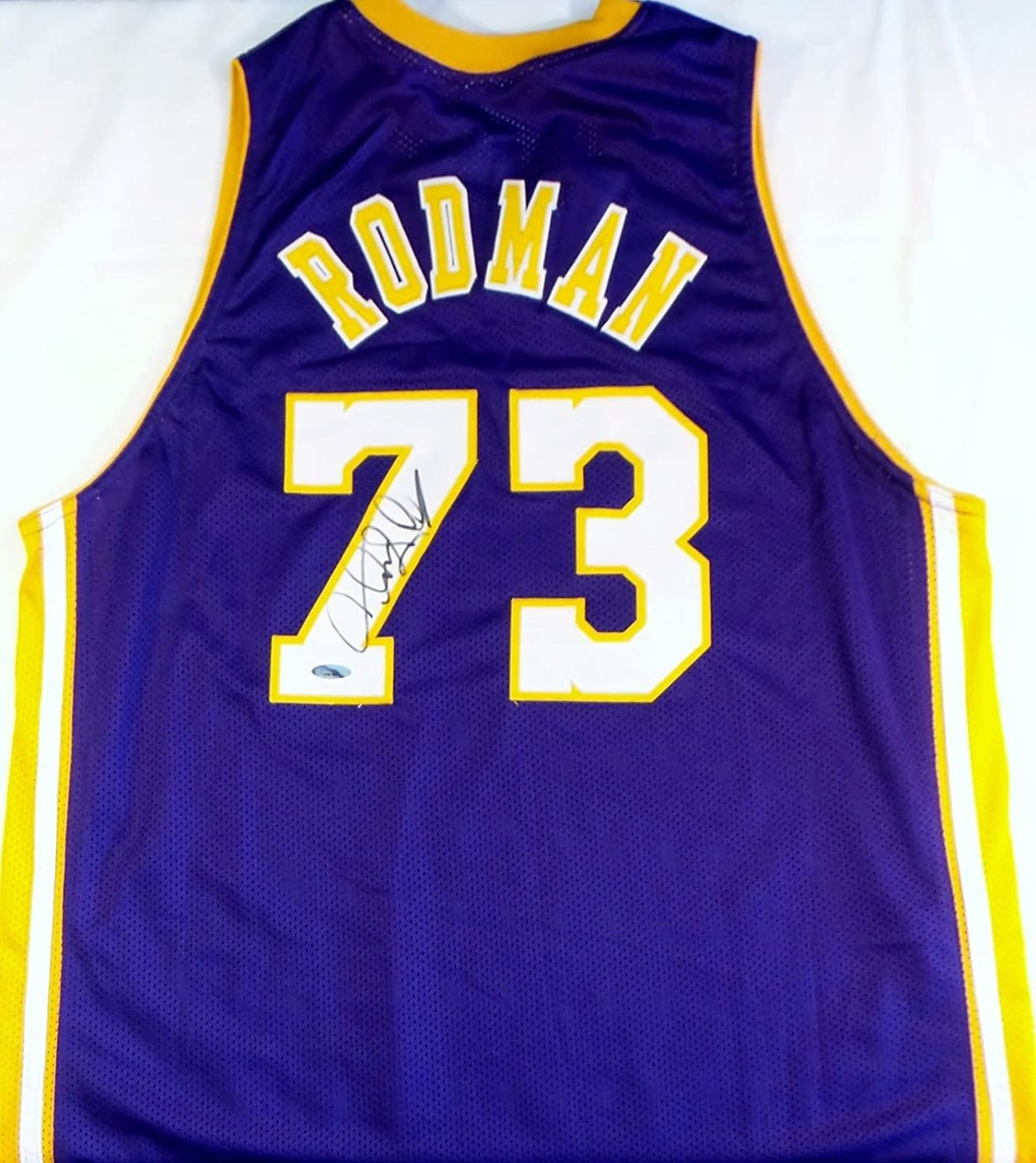 4f76d0f78 ... Dennis Rodman Signed Autographed Los Angeles Lakers Basketball Jersey  (TriStar Authenticated) at Amazons Sports ...