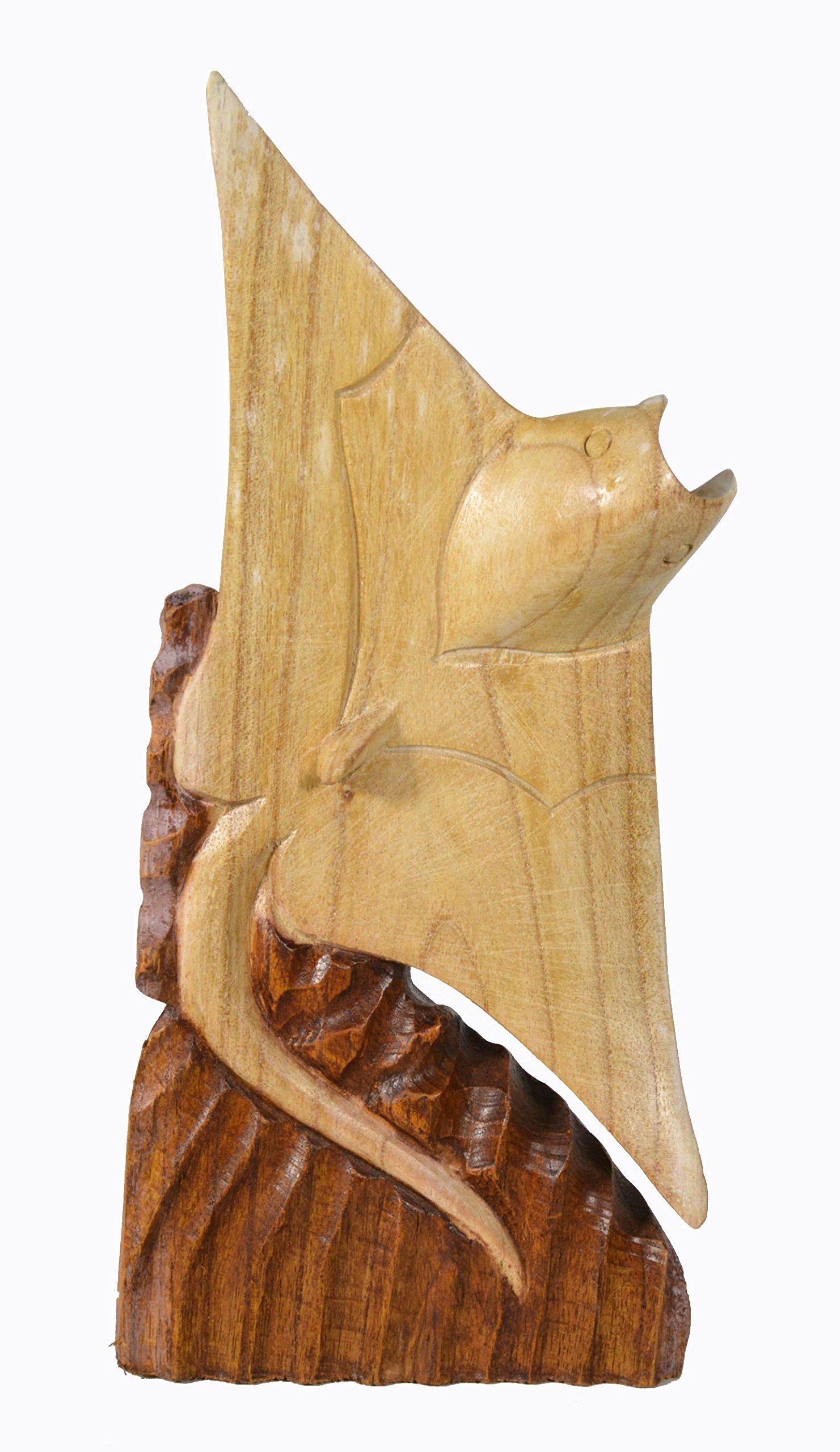 12'' Hand Carved Mahogany Stingray Manta Ray Table Top Carving Sculpture Ocean Sea Nautical Decor