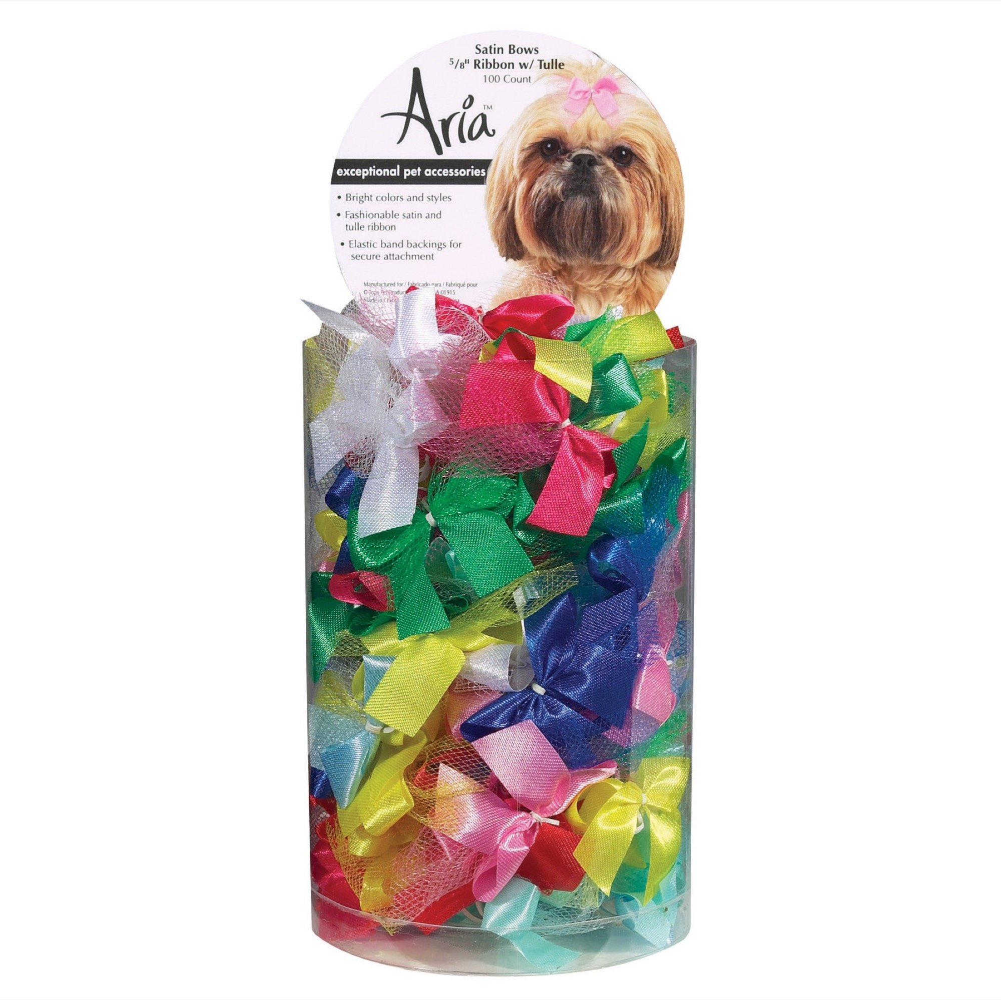 Aria Ribbon with Tulle Bows for Dogs, 100-Piece Canisters by Aria