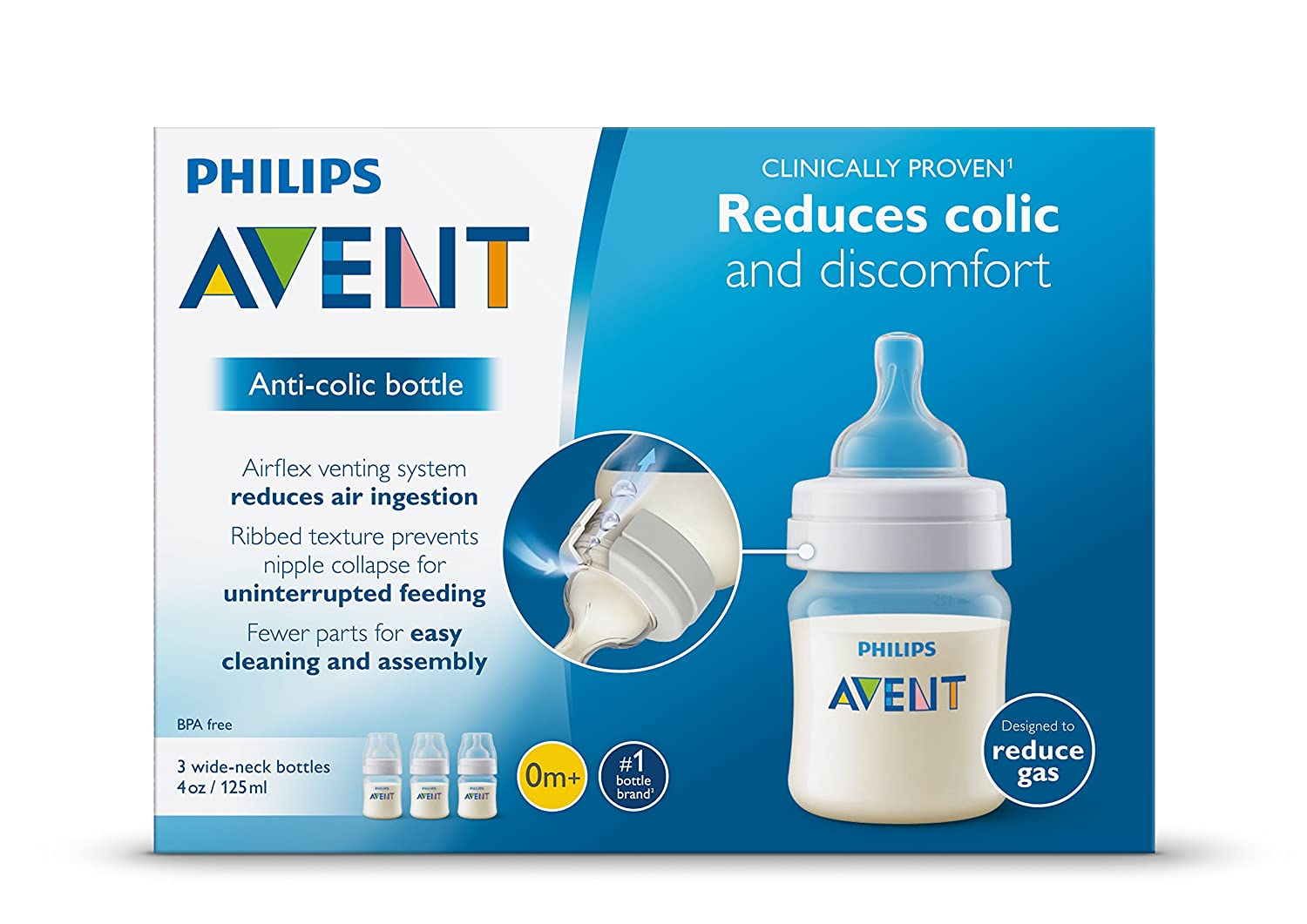 3-pack 4-OunceClear Philips Avent Anti-Colic BPA Free Baby Bottle SCF560//37