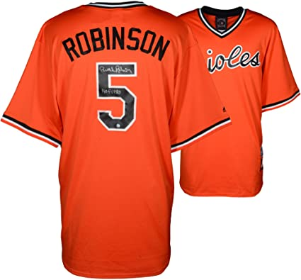 a12dac78089 ... clearance brooks robinson baltimore orioles autographed orange throwback  jersey with hof 1983 inscription fanatics authentic certified