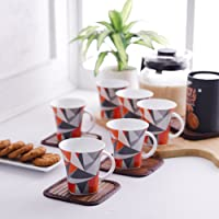 Clay Craft Heaven Studioline Bone China Coffee Mug Set, 150ml, Set of 6, Multicolour (CM-HEAVEN-HILTON-376)