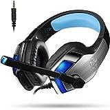 Auriculares Gaming Micrófono Cascos Jugador Ligero Cómodo Metálico Estéreo Sonido Envolvente Control de Volumen para PS4, PC, Ordenador Portátil, Tablet, Teléfono, MAC (Adaptador Incluido) Micolindun