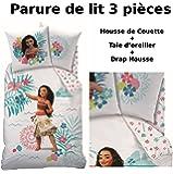Decokids VAIANA - Parure de lit (3pcs) - 100% Coton - Housse de Couette (140x200) + Taie d'oreiller (63x63) + Drap Housse (90x190) - Moana