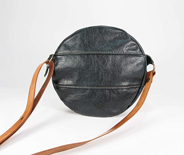 9d6923496 Amazon.com: Dark Forest Green Cross-body Round Canteen Purse: Handmade