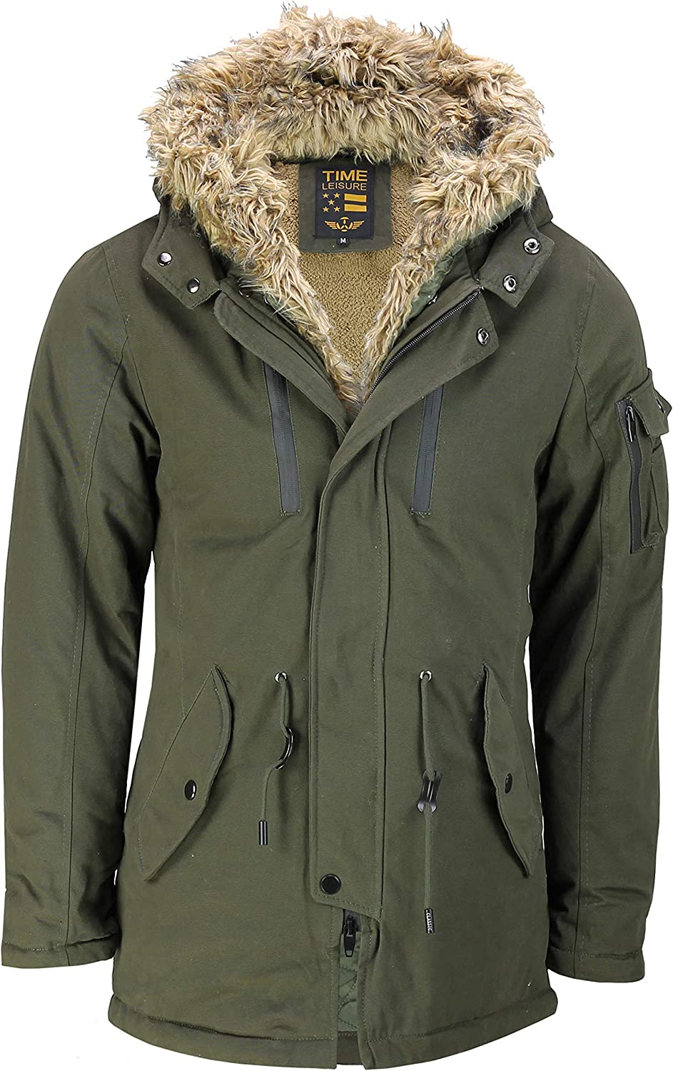 Faux Fur Lined Parka Mens
