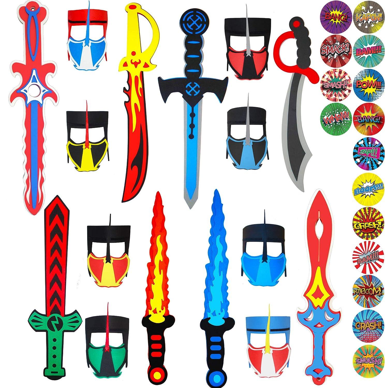 Funtoga 16 Foam Toy Swords + Masks for Kids Ninja Pirate Weapon Party Bulk Set + Superhero Stickers