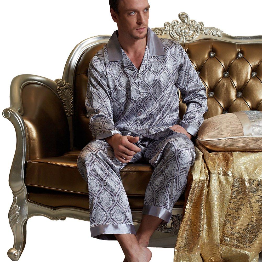 Amybria Men'S, in seta di alta qualità da 2 pantaloni pigiama 2047S0141--GY-XL