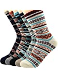 Urban Virgin 5 Pack Women's/Men's Soft Warm Thick Knit Wool Vintage Casual Snowflake Crew Socks For Cold Weather