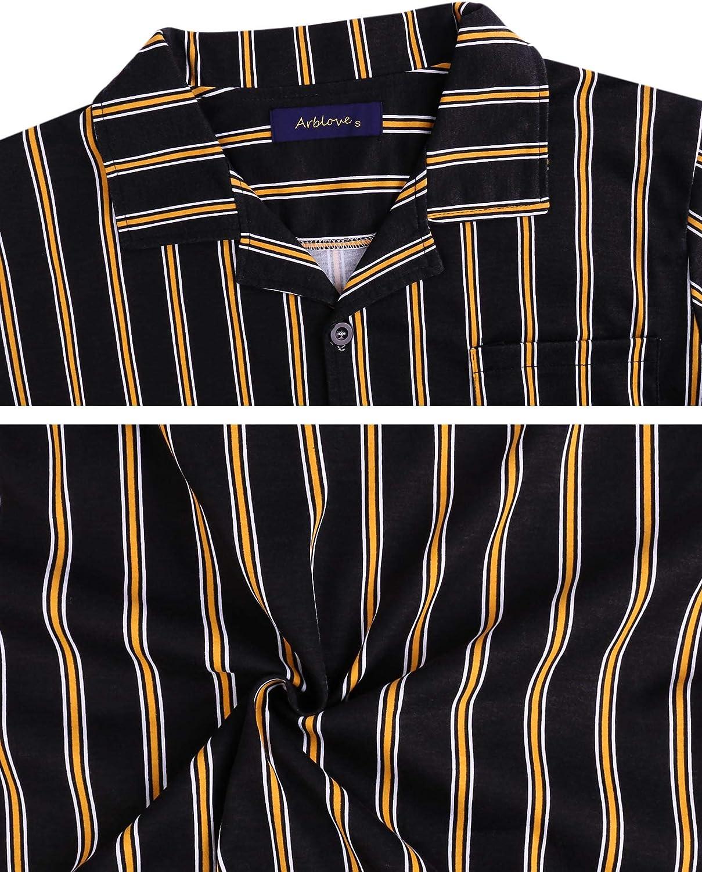 Arblove Mens Pyjama Sets Cotton Long Sleeve Loungewear Top /& Bottom Men Pjs Nightwear