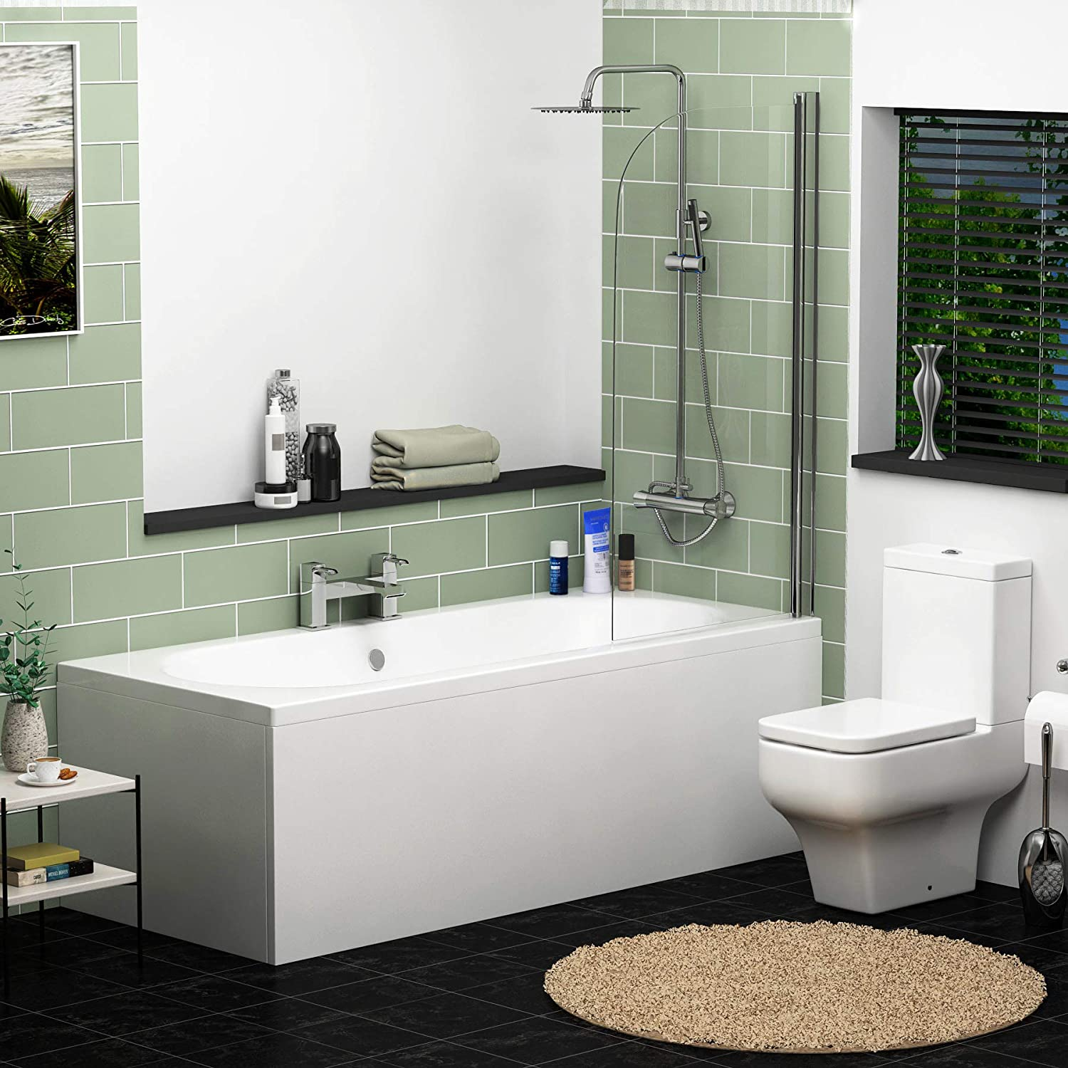 Screen + Front & End Panel 1700 x 700mm Elena 1700 x 700mm Designer Double Ended Acrylic Bath with Front Panel Straight Bathroom Bathtub