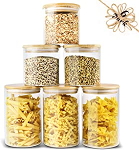 Glass Storage Container Bamboo Lids Urban Green, Glass Airtight Canisters sets, Glass Jar with Lids, Food Jars, Pantry Organization and Storage Containers, Spice Jars, Flour Canisters of 6