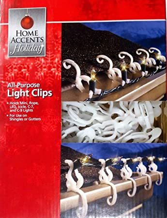 Home Accents Holiday Living All-Purpose Universal Indoor / Outdoor Shingle / Gutter Christmas Light Clips for Mini, Icicle, Rope, C7, C9, LED, Globes ...