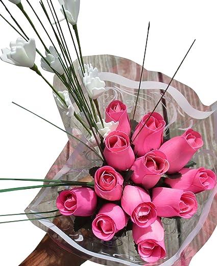 Amazon all pink breast cancer flower bouquet the original all pink breast cancer flower bouquet the original wooden rose closed bud 1 dozen mightylinksfo