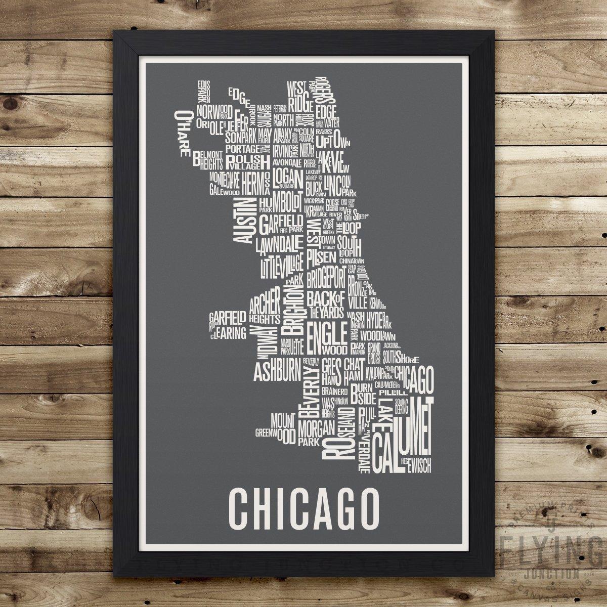 Amazoncom Chicago Neighborhood Map Print Handmade - Chicago map amazon