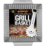 Homeflowz Heavy Duty Grill Basket and Scraper – Large Veggie Grilling Basket - Stainless Steel Grill Baskets for Outdoor Gril