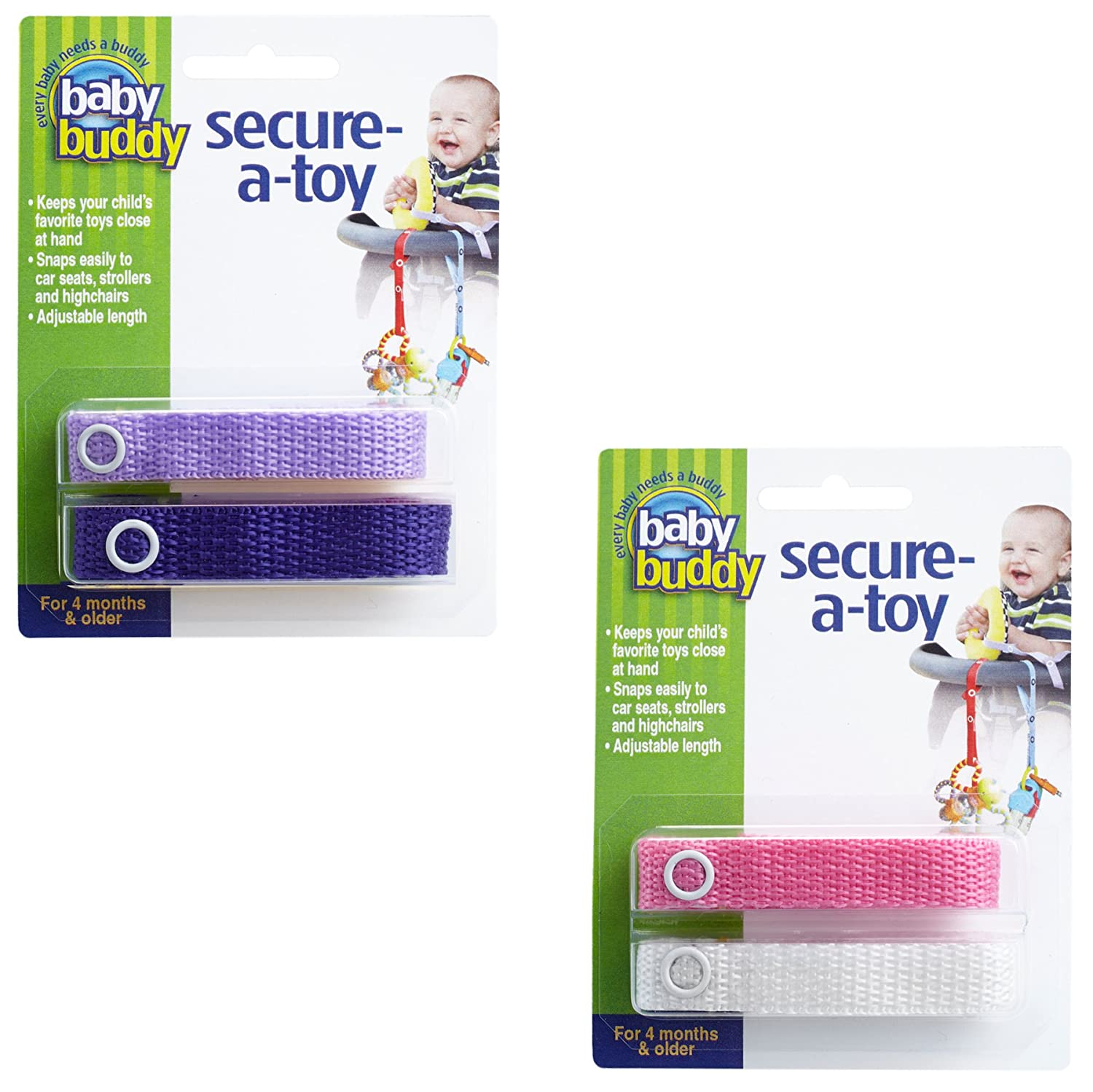 Baby Buddy 4-Count Secure-A-Toy Straps, Navy/Royal/Blue/White, 4-Pack Compac Industries 04153-NRyBW