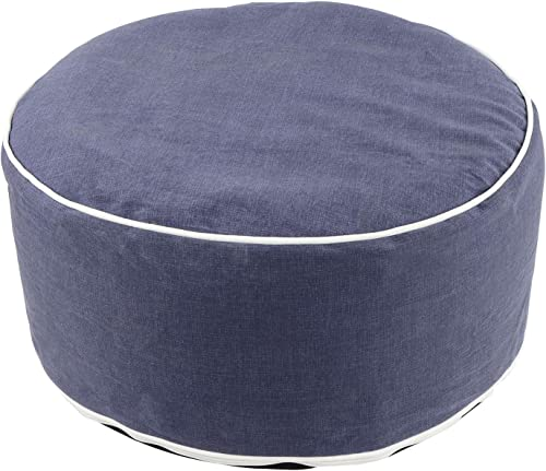 7Penn Inflatable Ottoman Foot Rest – 21 x 11 Inch Outdoor Proof Footstool Portable Patio Ottoman in Navy Blue