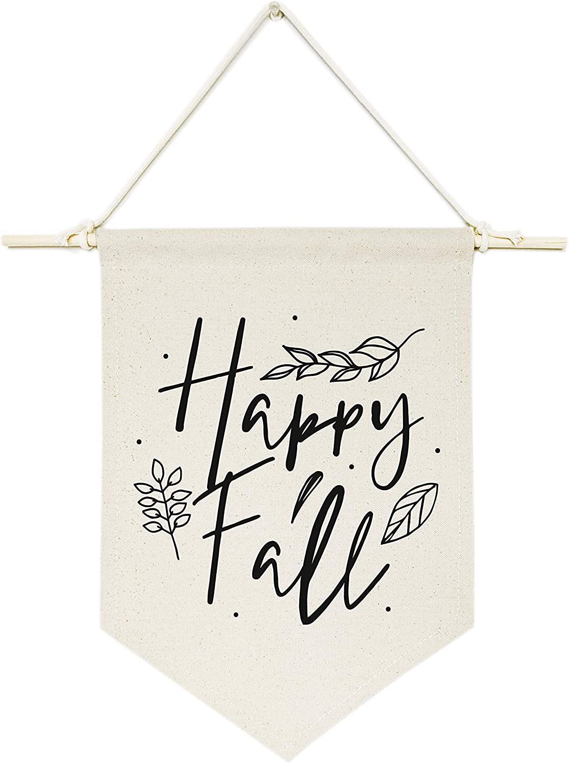 The Cotton & Canvas Co. Happy Fall! Hanging Wall Canvas Banner, Thanksgiving, Autumn and Fall Decor