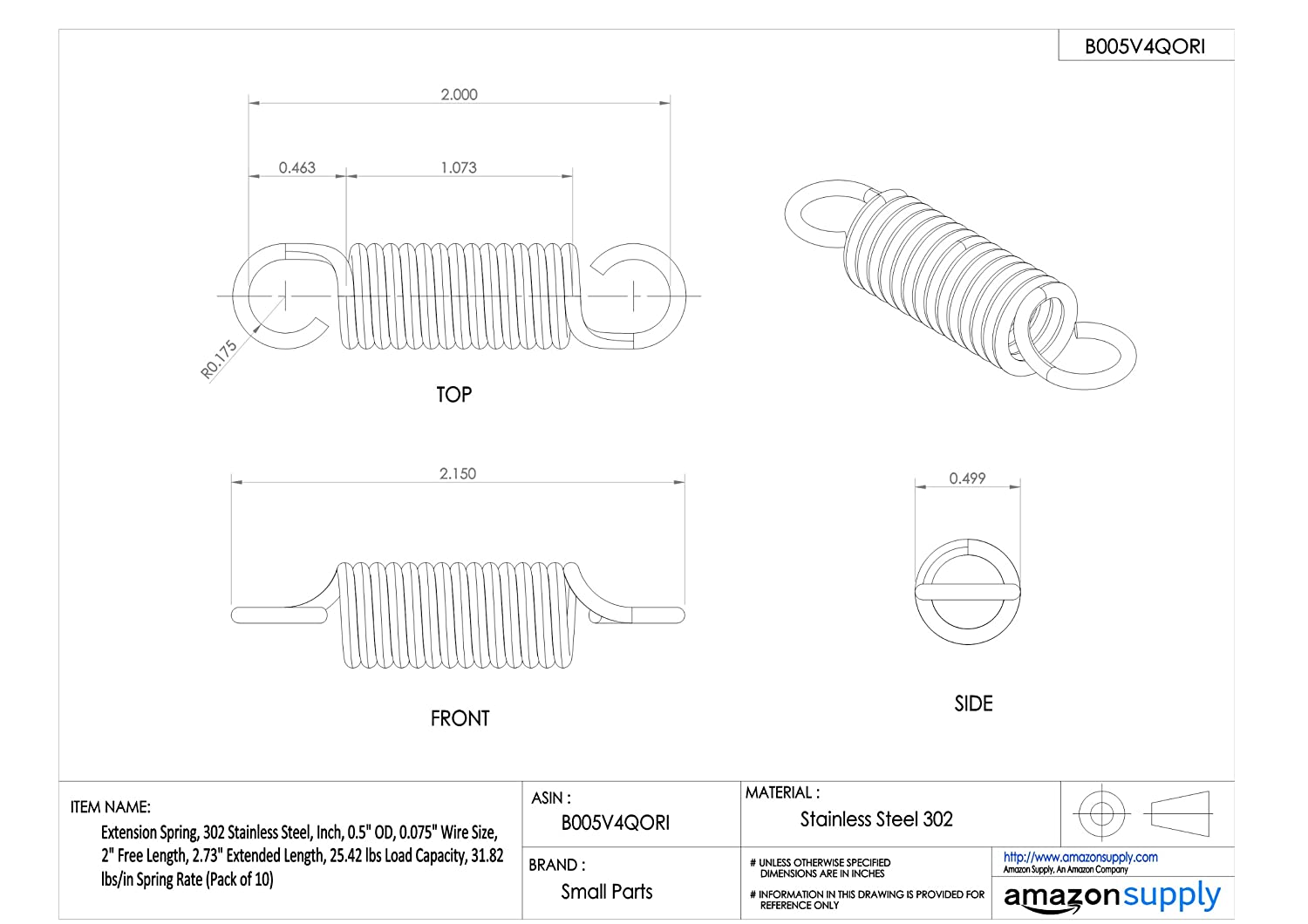 2.73 Extended Length Extension Spring Inch 31.82 lbs//in Spring Rate 0.5 OD 0.075 Wire Size 0.5 OD 0.075 Wire Size 2 Free Length 2.73 Extended Length E05000752000S 2 Free Length 25.42 lbs Load Capacity Pack of 10 302 Stainless Steel