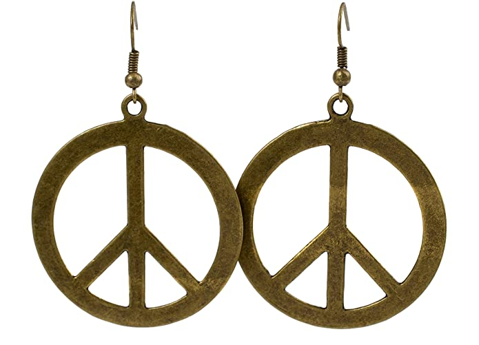 1960s Jewelry Styles and Trends to Wear Geralin Gioielli Women Earrings Bronze Peace sign Drop Earrings Vintage Fashion $11.50 AT vintagedancer.com