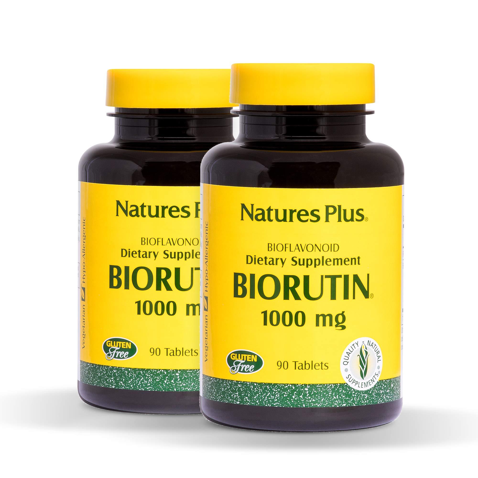 NaturesPlus Biorutin (Sophora Japonica) (2 Pack) - 1000 mg, 90 Vegetarian Tablets - Vein Health Supplement, Joint Pain Relief, Antioxidant - Hypoallergenic, Gluten-Free - 180 Total Servings
