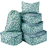 Packing Cubes Luggage Organisers TravelClothing Laundry Bag Toiletry Bag and Electronics Accessories Pouch 6 set (Blue White Flower-6pcs)