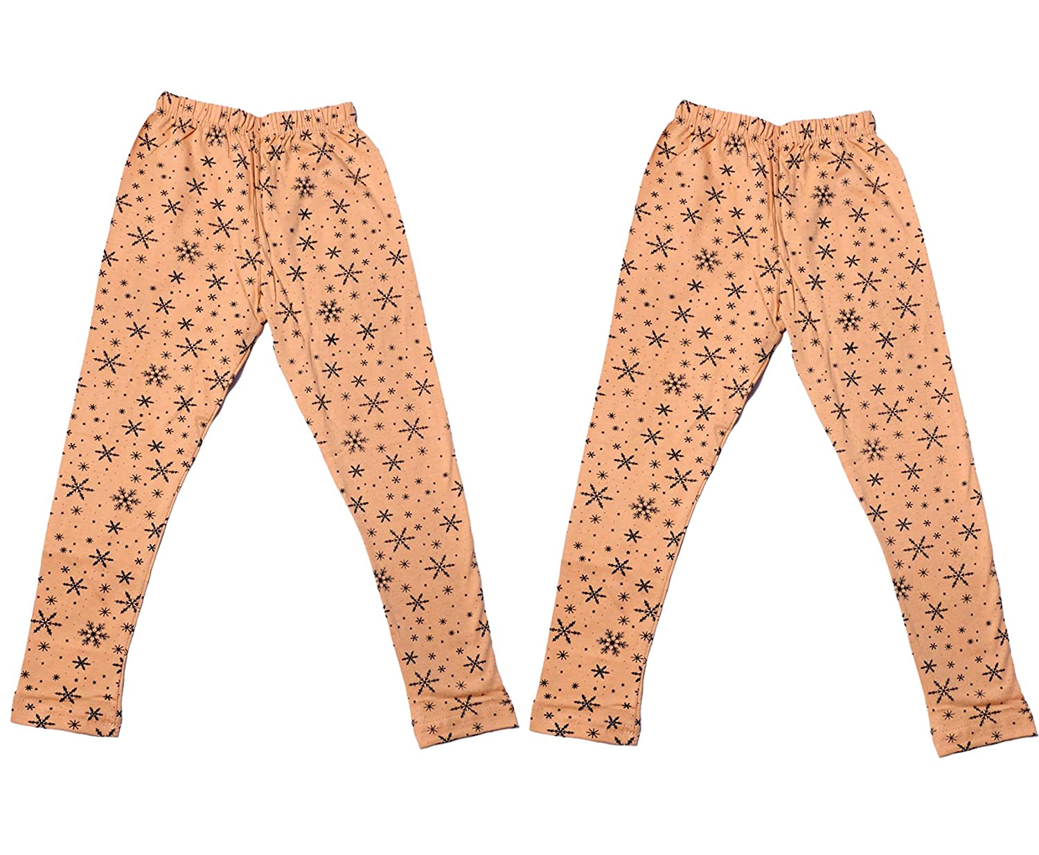 Pack of 2 Beige Indistar Girls Super Soft and Stylish Cotton Printed Legging