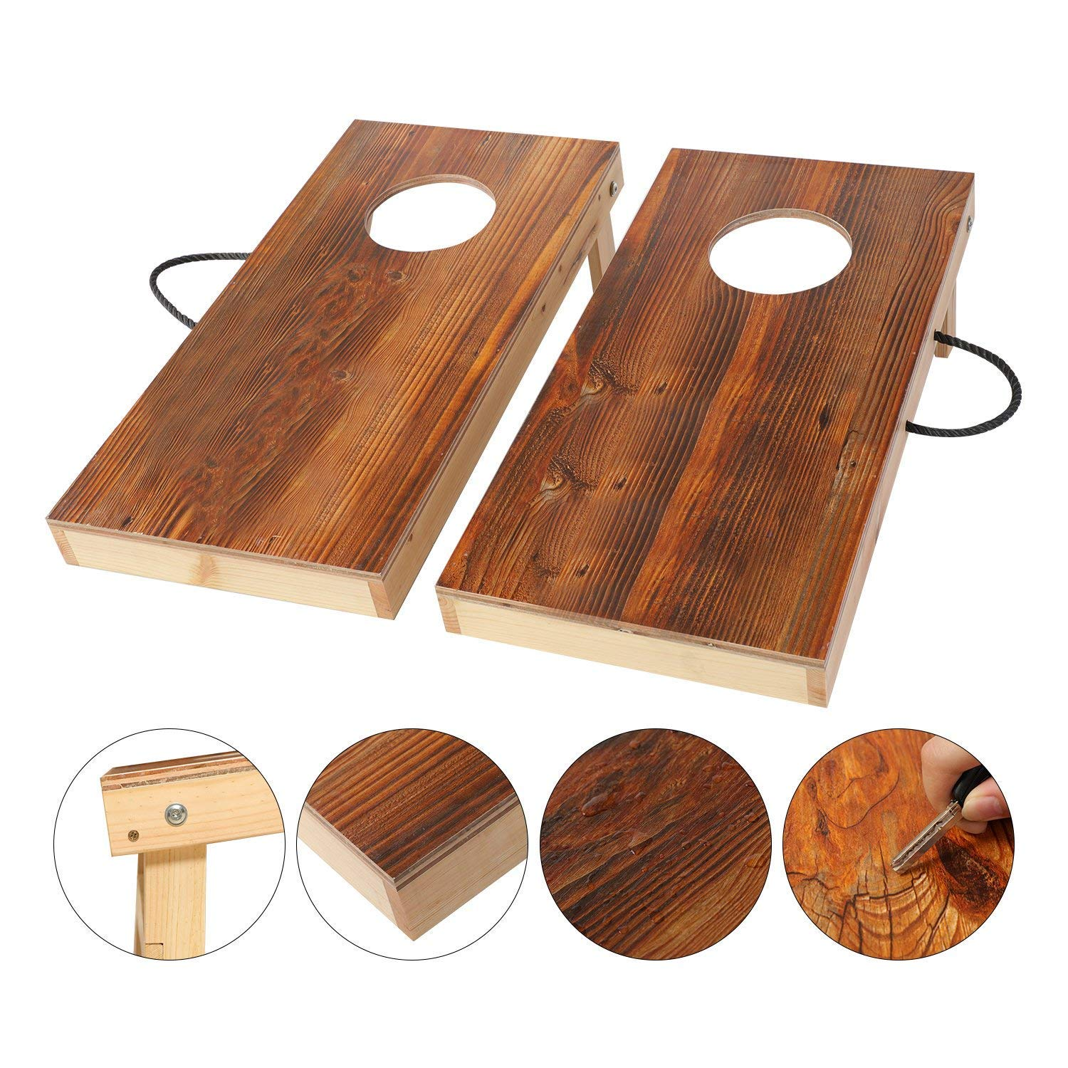 OOFIT Solid Wood Junior Size Cornhole Set Travel Size Portable Toss Game Set with 8 Bean Bags
