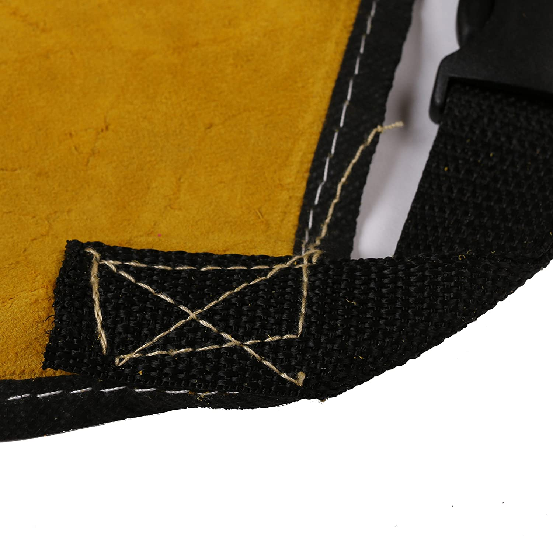 Babimax Delantal de Soldadura de 24x36Pulgadas con Correa Delantal de Cuero Amarillo Superior Split Weld con un Bolsillo