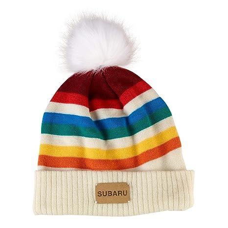 fa78a4123c9 Amazon.com  SUBARU Hat Genuine Ladies Rainbow Beanie Hat Impreza Forester  Legacy Outback STI WRX Racing Ski Snow New  Automotive