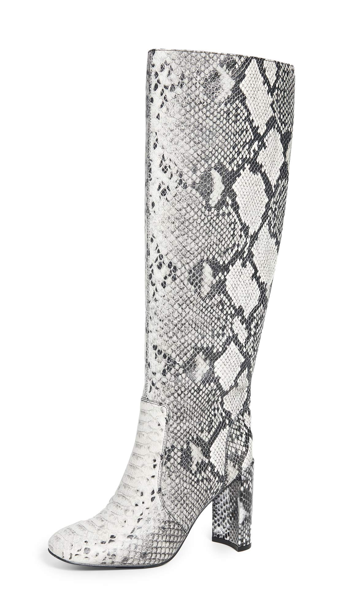 Jeffrey Campbell Women's Entuit Tall Boots, Black/White Snake, 9 Medium US by Jeffrey Campbell