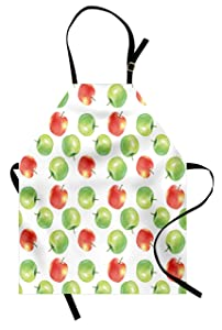 Ambesonne Apple Apron, Watercolor Illustration of Granny Smiths and Celesta Brush Strokes Effect, Unisex Kitchen Bib with Adjustable Neck for Cooking Gardening, Adult Size, Apple Green