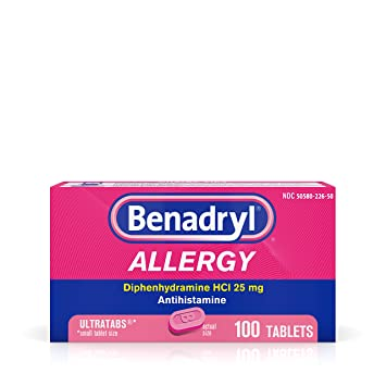 Benadryl Ultratabs Antihistamine Allergy Relief with Diphenhydramine HCl 25  mg, 100 ct