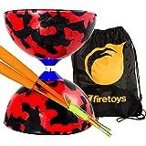 Jester Medium Diabolo Red/Black with Orange Superglass Diablo Sticks, String & Firetoys® Bag