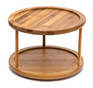 YBM HOME 2 Tier Bamboo Wooden Lazy Susan Turntable 10 Inch Diameter 479