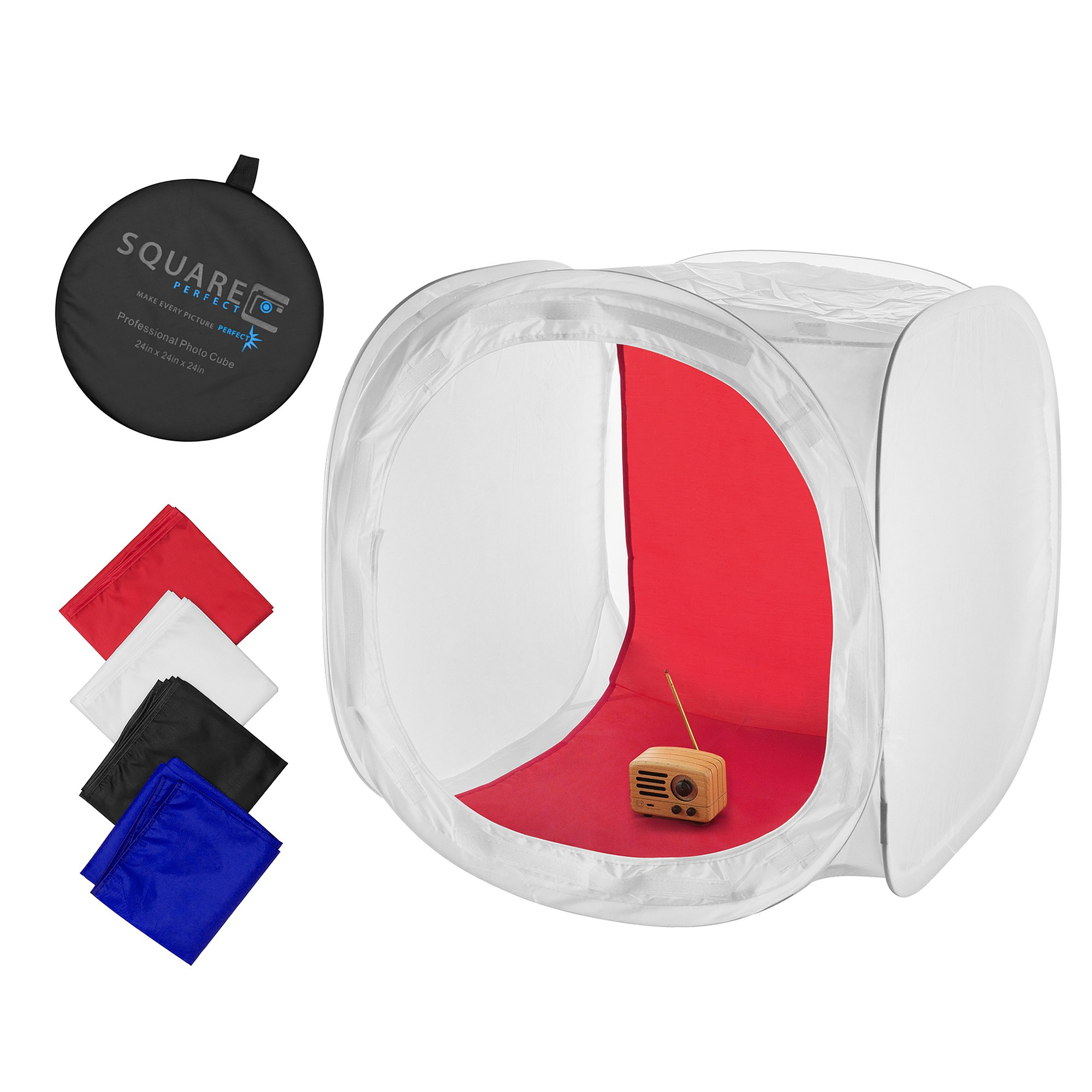Square Perfect 24 Inch Classic Photography Light Tent - Softbox w/4 Backgrounds