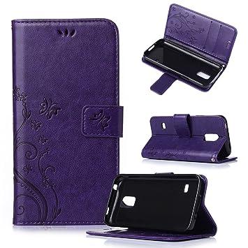 Beiuns Funda de PU Piel para Samsung Galaxy S5 Mini (4,5 Pulgadas)(no para S5) Carcasa - R150 púrpura Elegante